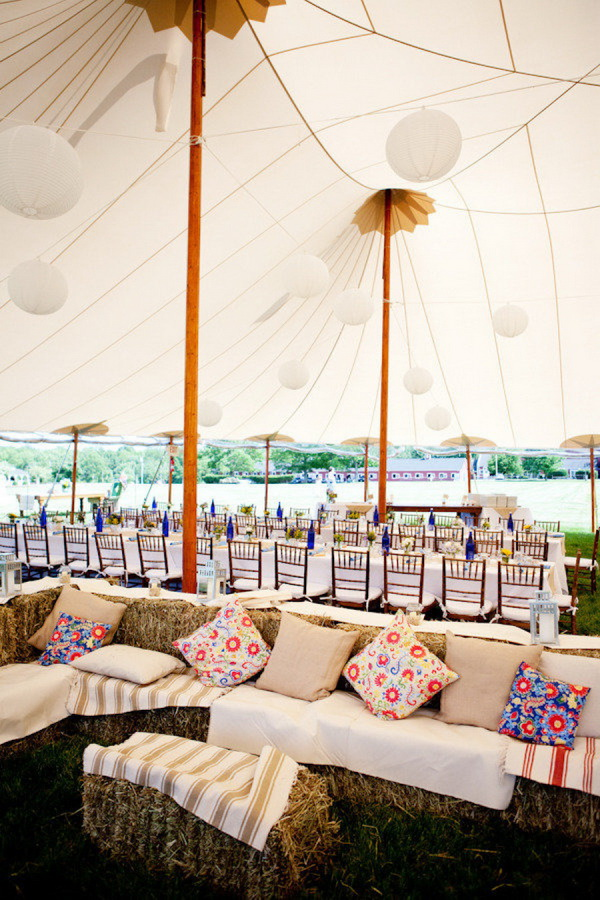 rustic tented wedding hay bale seating place ideas