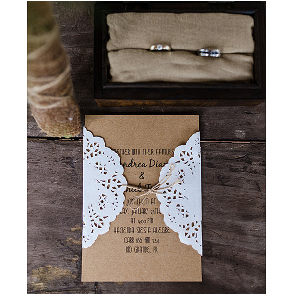 rustic vintage laser cut lace wedding invitation