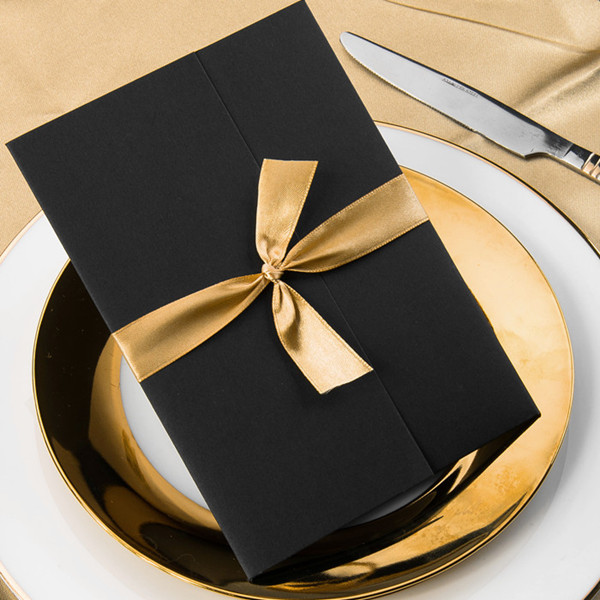 simple damask black pocket gold ribbon invitations