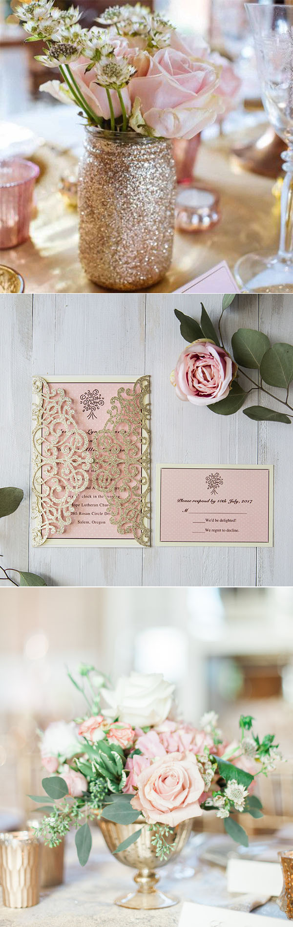 Stunning Pink Wedding Ideas and Invitations With Gold & Silver ...