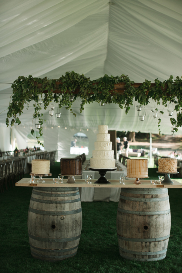 wine barrel tented wedding cake table