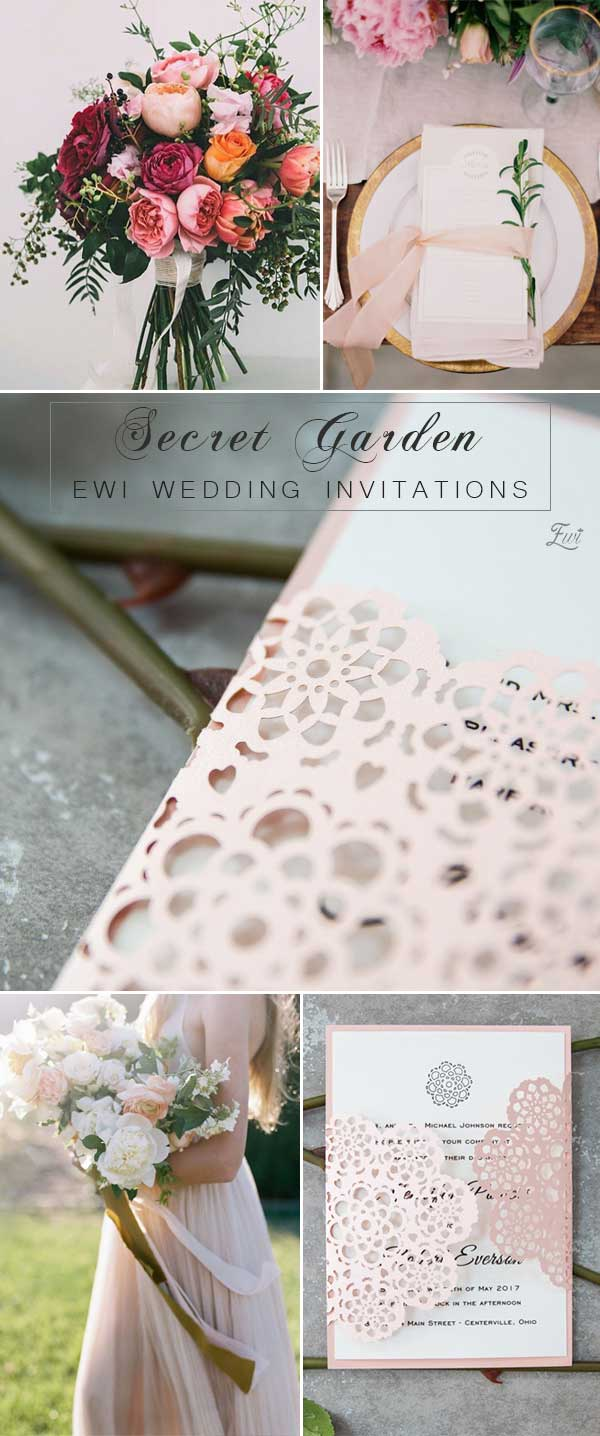Blush Pink Floral Laser Cut Wedding Invites EWWS160