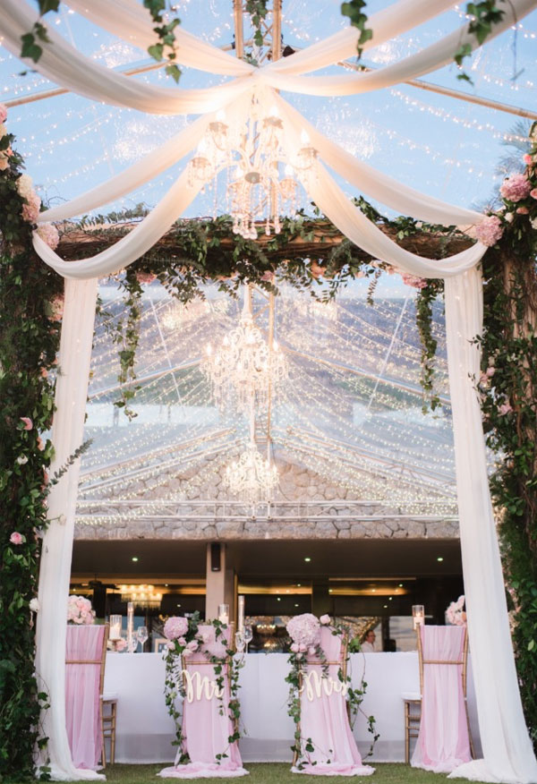 Blush Wedding with Fairy Lights Decorations Everywhere