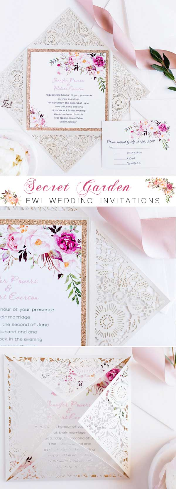 Bohemian Rustic Floral Glittery Laser Cut Wedding Invitations EWWS085