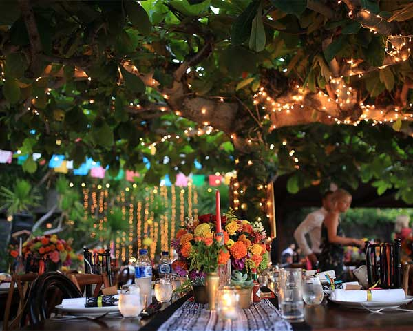 Breathtaking String Lights Garden Wedding Reception Decor Ideas