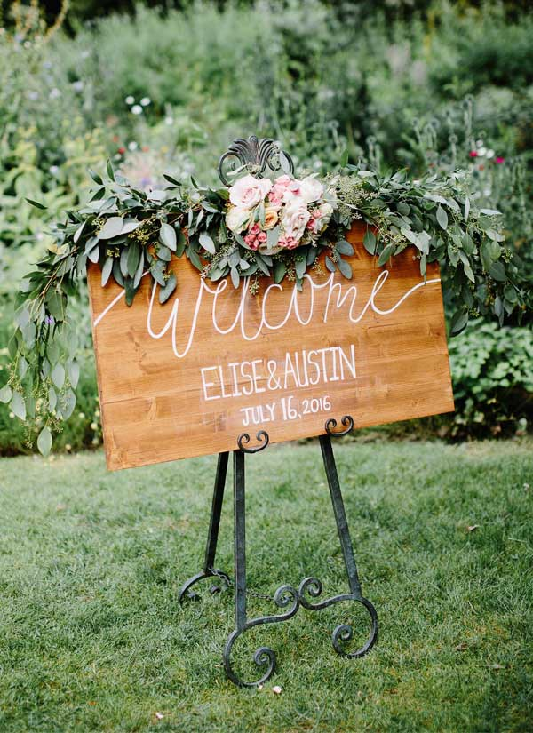Hottest 30 garden wedding ideas for 2017 elegantweddinginvites chic rustic floral garden wedding welcome sign idea workwithnaturefo