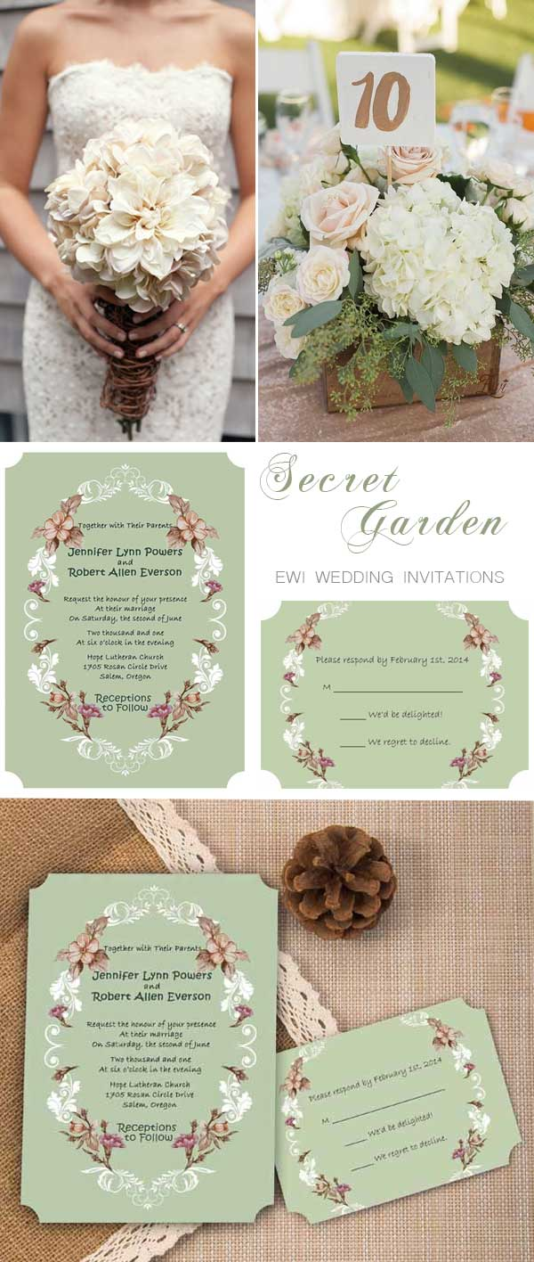 Chic Vintage Fl Country Rustic Ticket Shape Garden Wedding Invites Ewir258