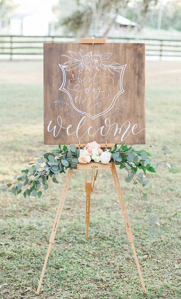 Classic Chic Garden Wedding Welcome Sign Idea