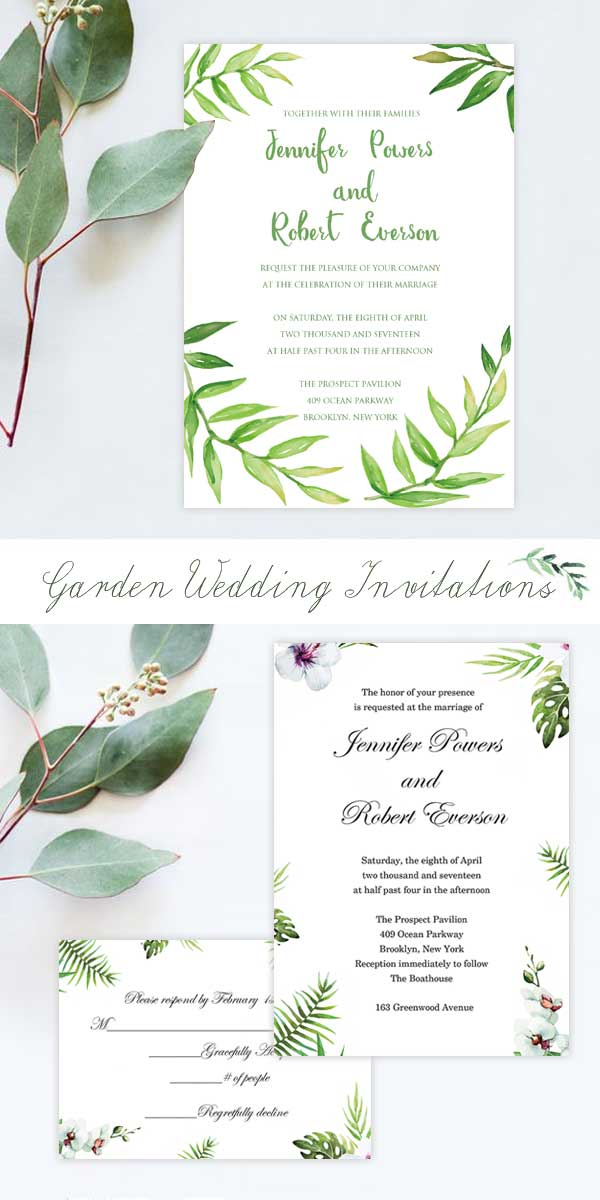 EWI Greenery Garden Wedding Invitations