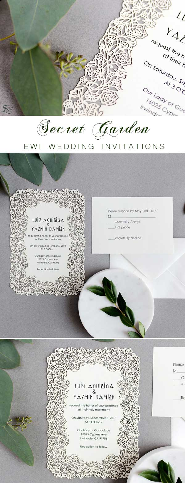 Elegant Floral Laser Cut Wedding Invitations EFWS001