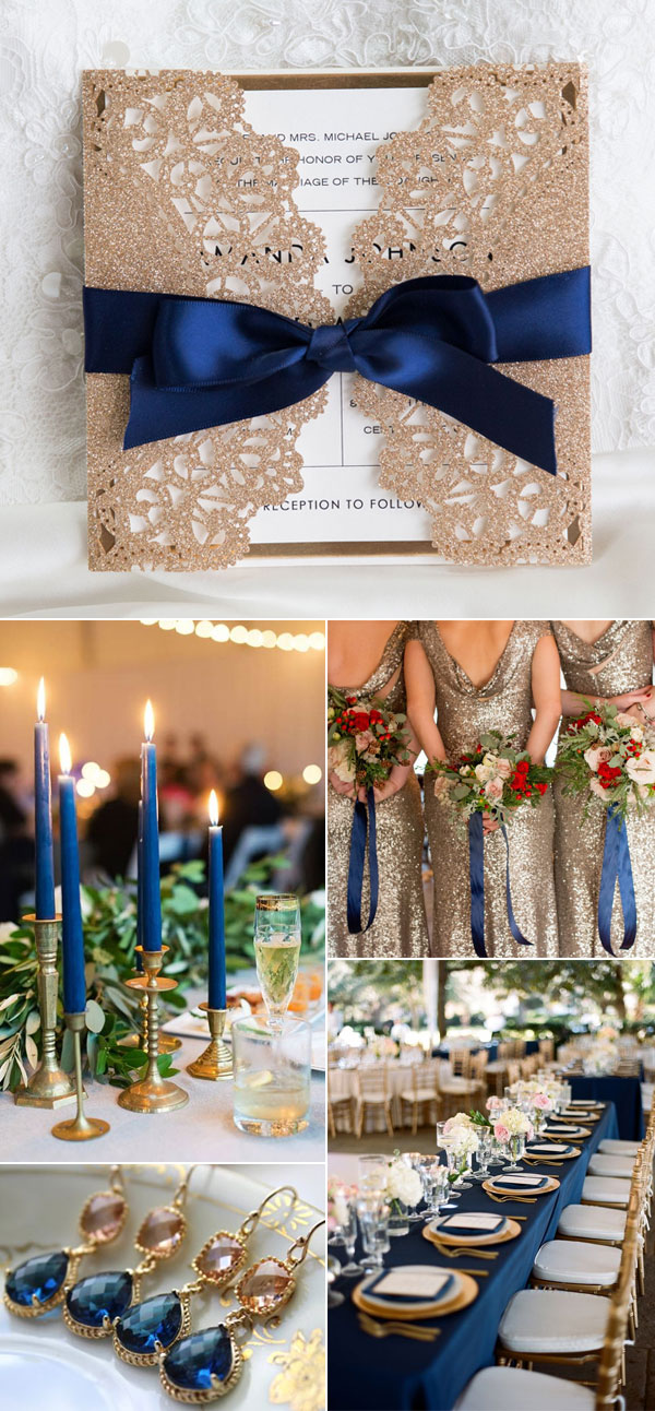 Elegant Rose Gold Glitter and Navy Blue Wedding Color Combo