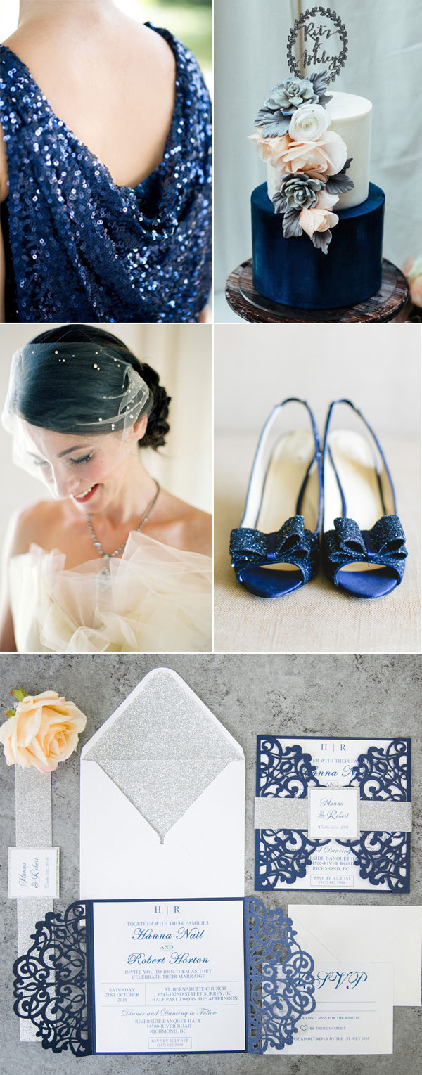 Fabulous Navy Blue Wedding Ideas with Silver Glitter Accents