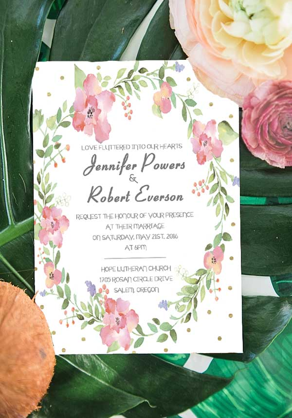 Floral Foiled Garden Themed Wedding Invitations EWFI009