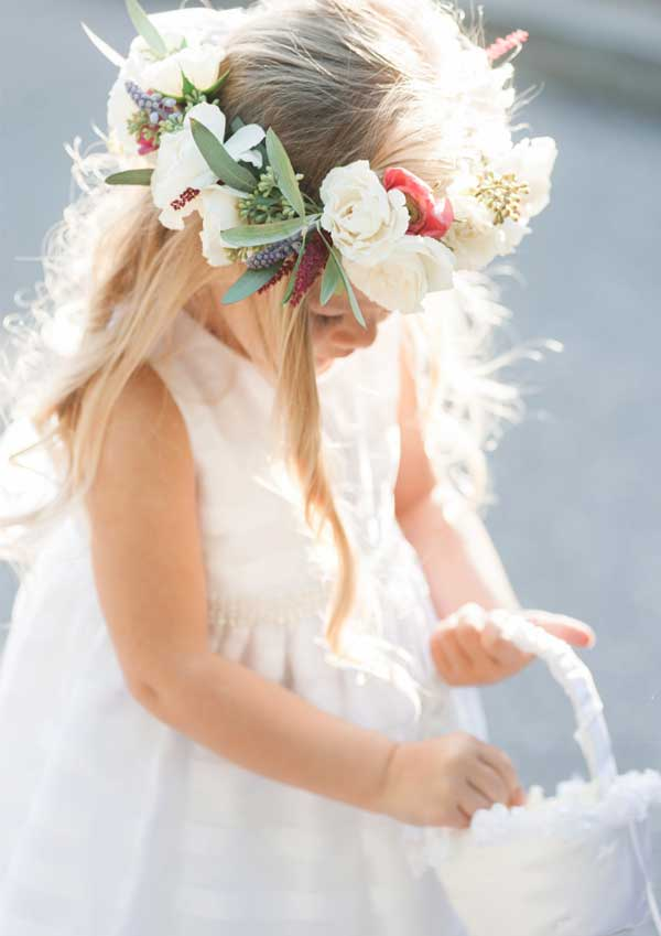 Garden Wedding Cute Flower Girl with Fresh Flower Crown
