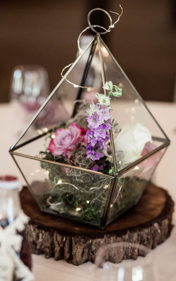 Geometric Shaped Glass Cases Wedding Reception Décor with Moss and String Lights