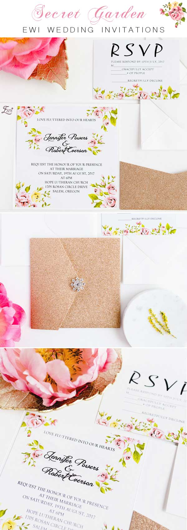 Gold Glitter Pocket with Rhinestone Closure and Floral Inspiration Wedding Invitation EWTS031