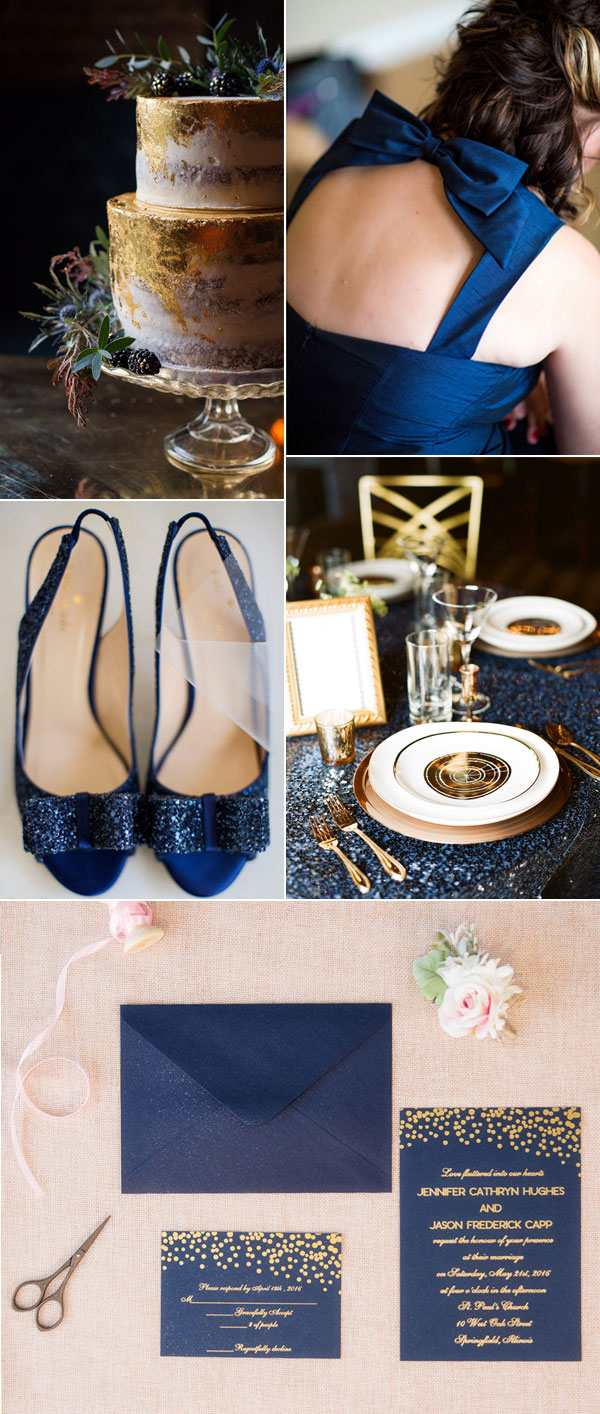 Gold and Navy Blue Wedding Color Palette Inspiration