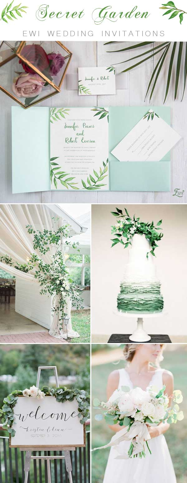 Greenery Botanical Wreath Pocket Wedding Invitations EWPI216