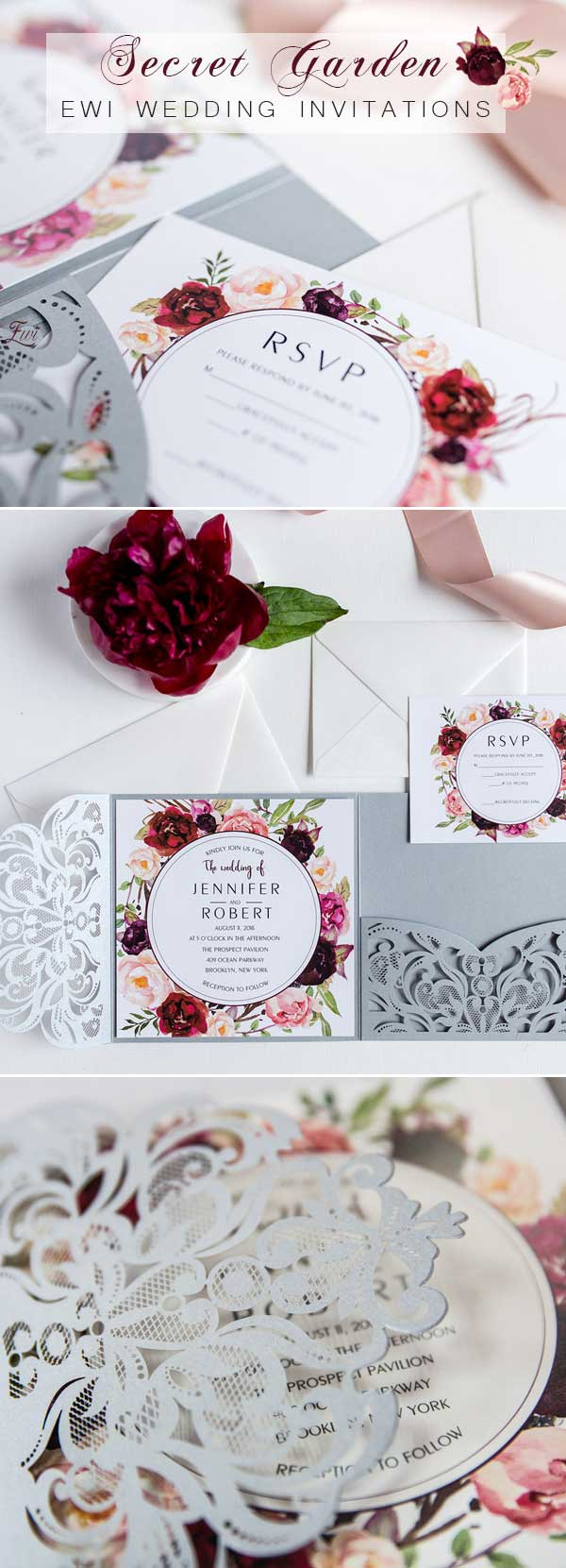 Grey Laser Cut Burgundy Floral Wedding Invitations EWWS177