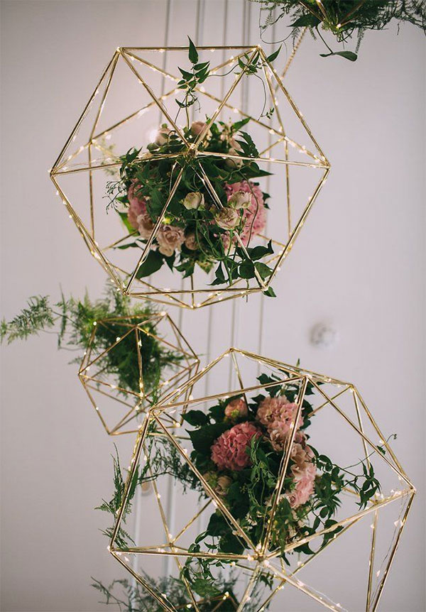 Hanging Geometric Floral Wedding Decorations