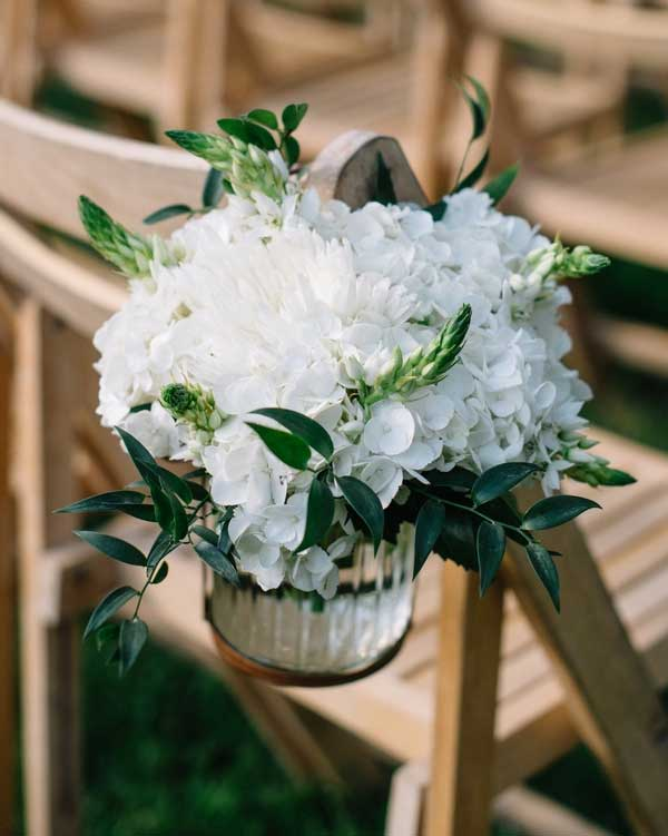 Hydrangea Jar Garden Wedding Chair Decorations