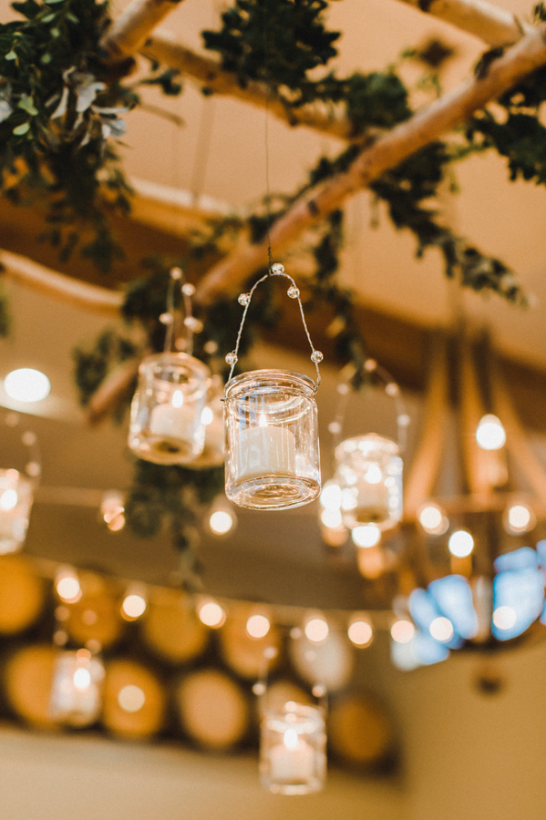 Indoor Hanging Jars with String Lights Wedding Decor