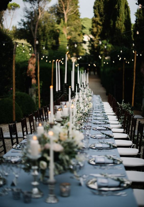 Intimate String Lights Decorated Garden Wedding Inspiration