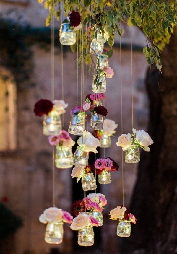 Lovely Wedding Decoration Hanging Jars Filled with LED Lights and Delicate Flowers