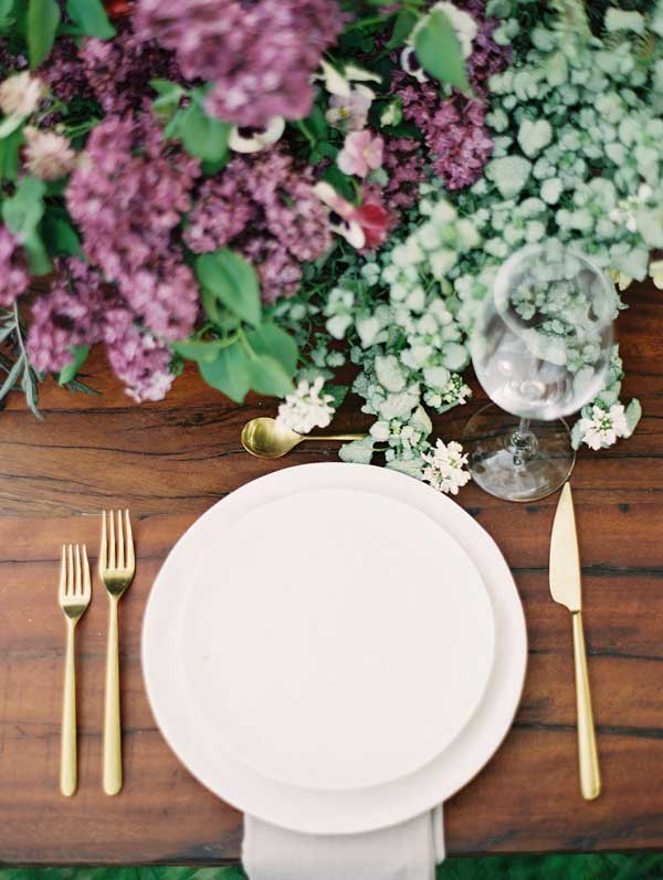Luscious Lilac and Greenery Garden Wedding Place Setting