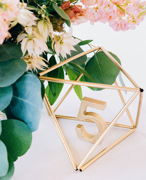 Luxe Geometric Wedding Table Number Decor Ideas