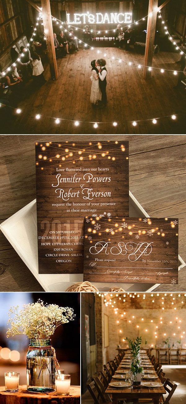 Magic String Light Baby's Breath Wedding Invitation EWI410