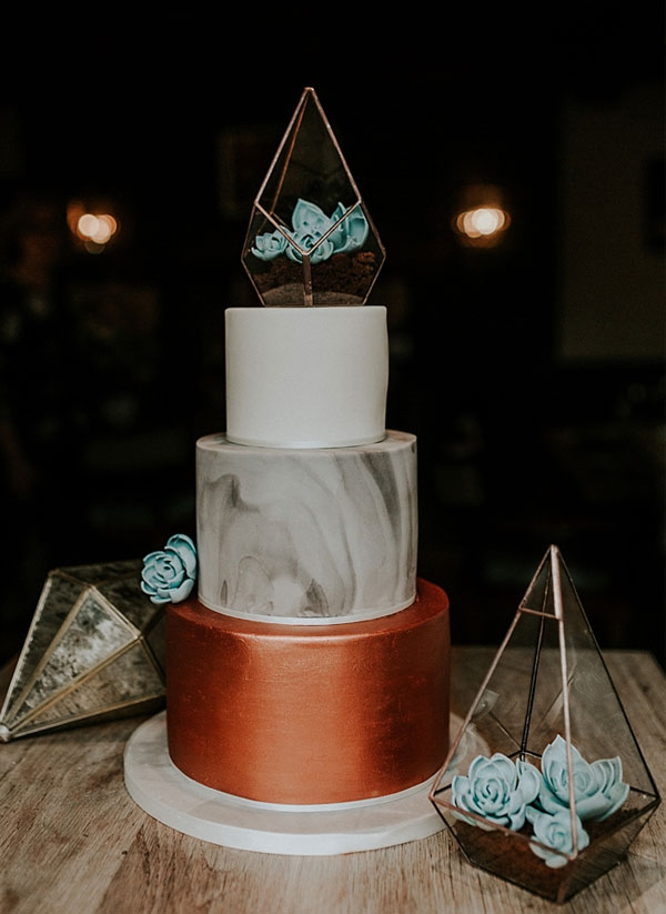 Metallic Copper and Marble Wedding Cake with Botanical Geometric Topper