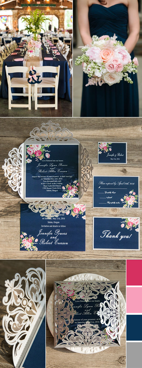 Navy Blue and Blush Wedding Color Palettes Accented with Silver Glitter