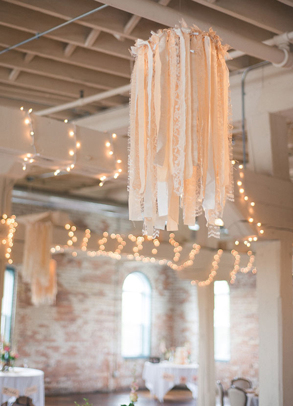 Ribbon Chandelier Vintage Wedding Décor with String Lights