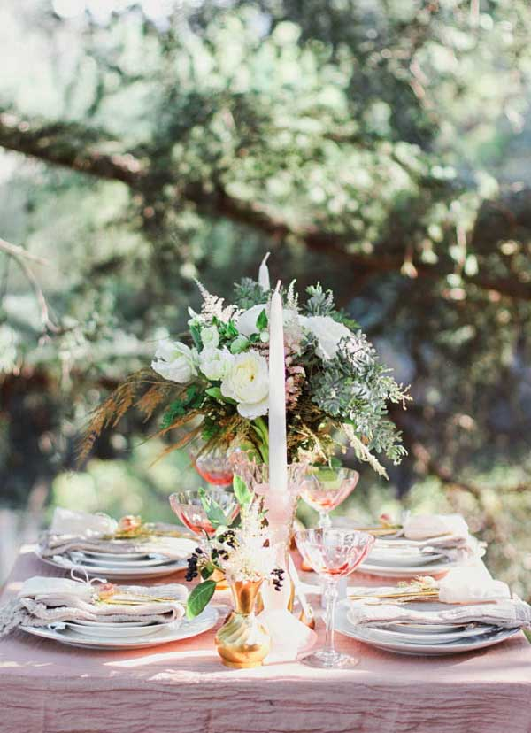 Romantic Blush and Golds Rose Quartz Garden Wedding Dinner Settings