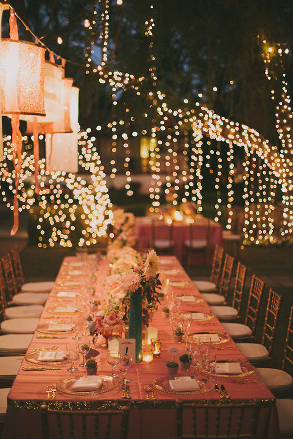 Romantic String Lights Decor For a Pink and Gold Wedding
