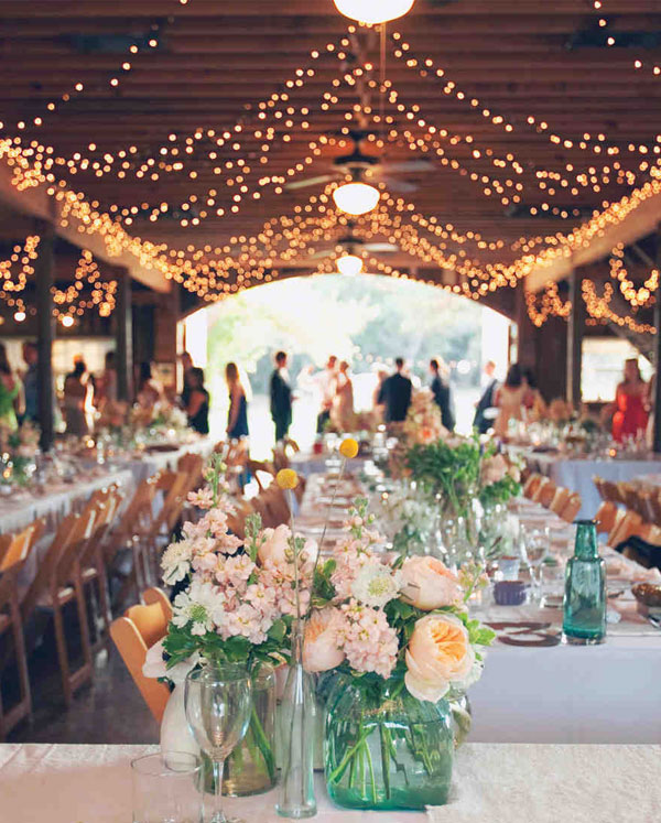 Rustic Barn Wedding String Lights Decor Ideas