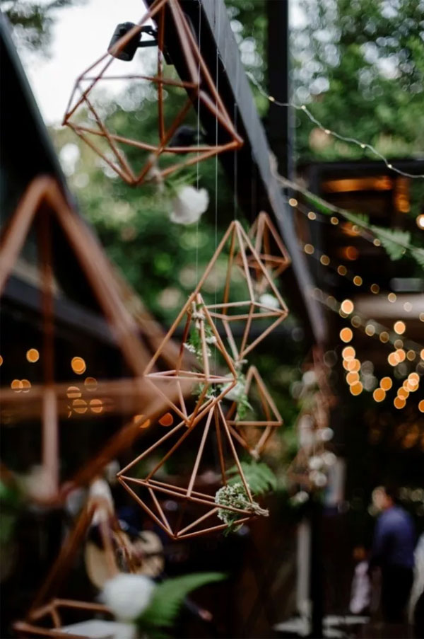 Rustic Fairy Lights Wooden Wedding Decor Mixed with Modern Geometric Details