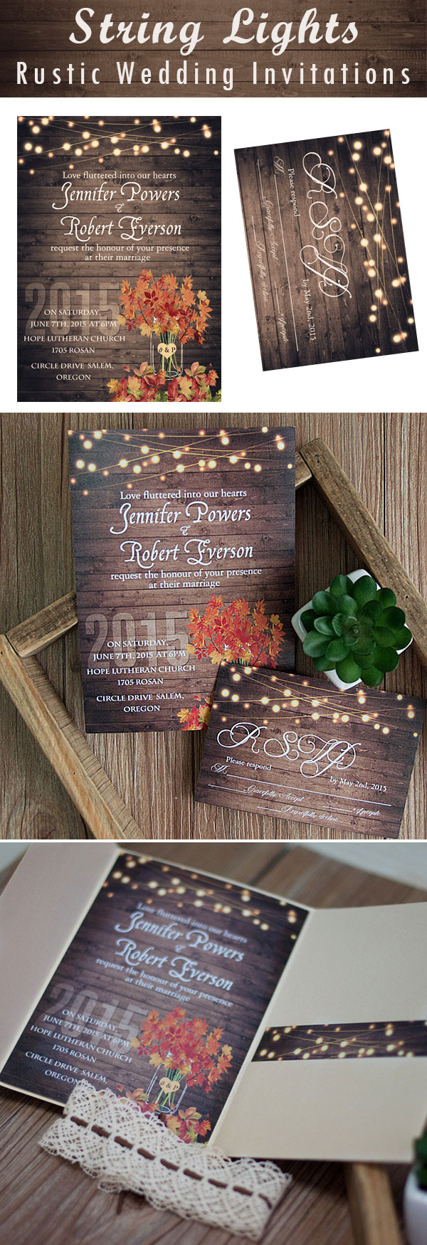 Rustic String Light Wedding Invites