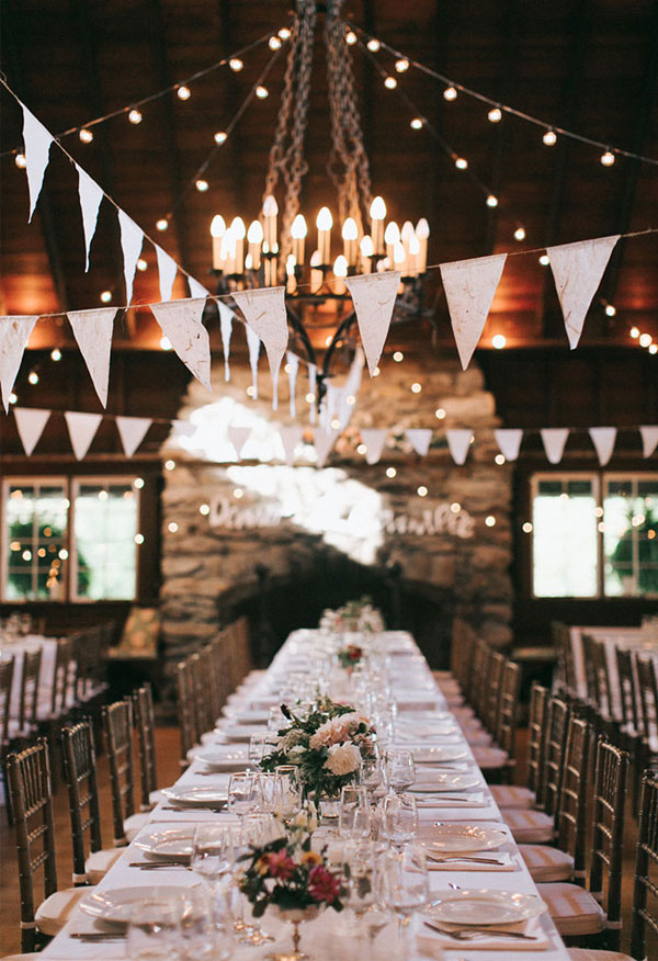 Rustic Tented String Lights Wedding Reception