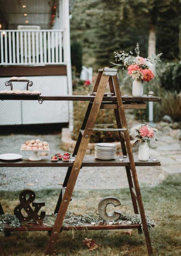 Rustic Wedding Triangular Ladder Dessert Display