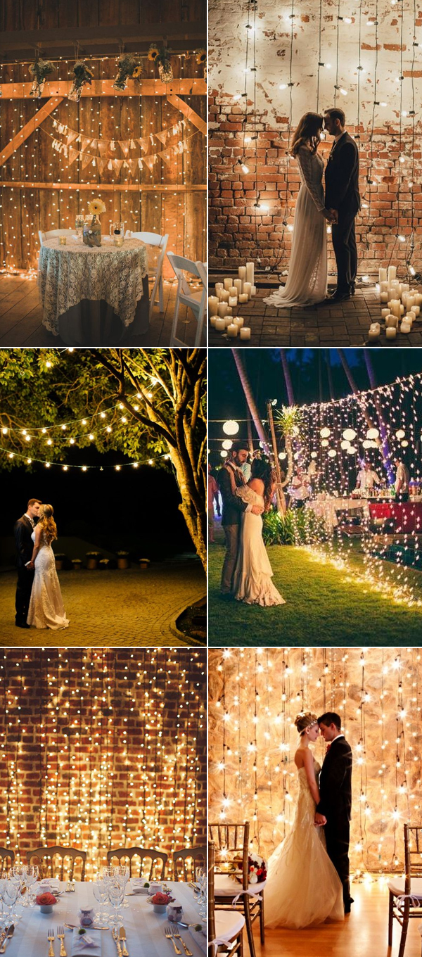 Stunning String Lights Wedding Backdrop Ideas