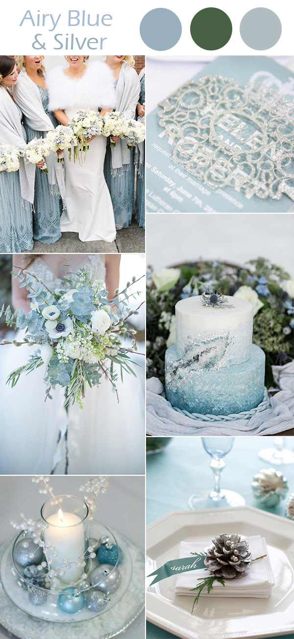 Airy Blue And Silver Winter Wedding Colors