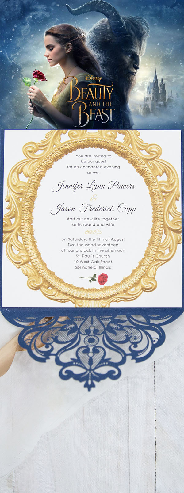 beauty and the beast glamorous winter wedding invitations