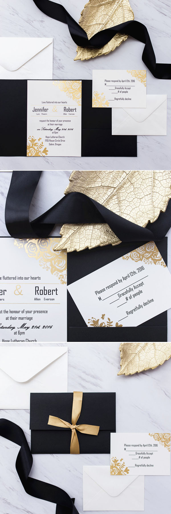black and gold glitter pocket wedding invitations EWPI199