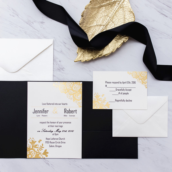 black and gold glitter pocket wedding invitations