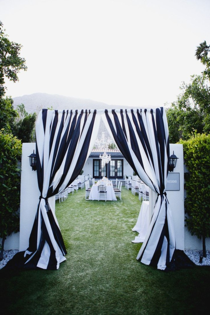 black and white stripe wedding ceremony entrance ideas