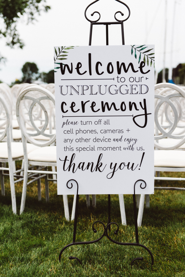 black and white unplugged wedding ceremony signs