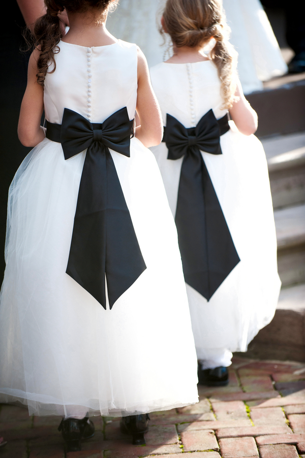 black bow white flower girl dresses
