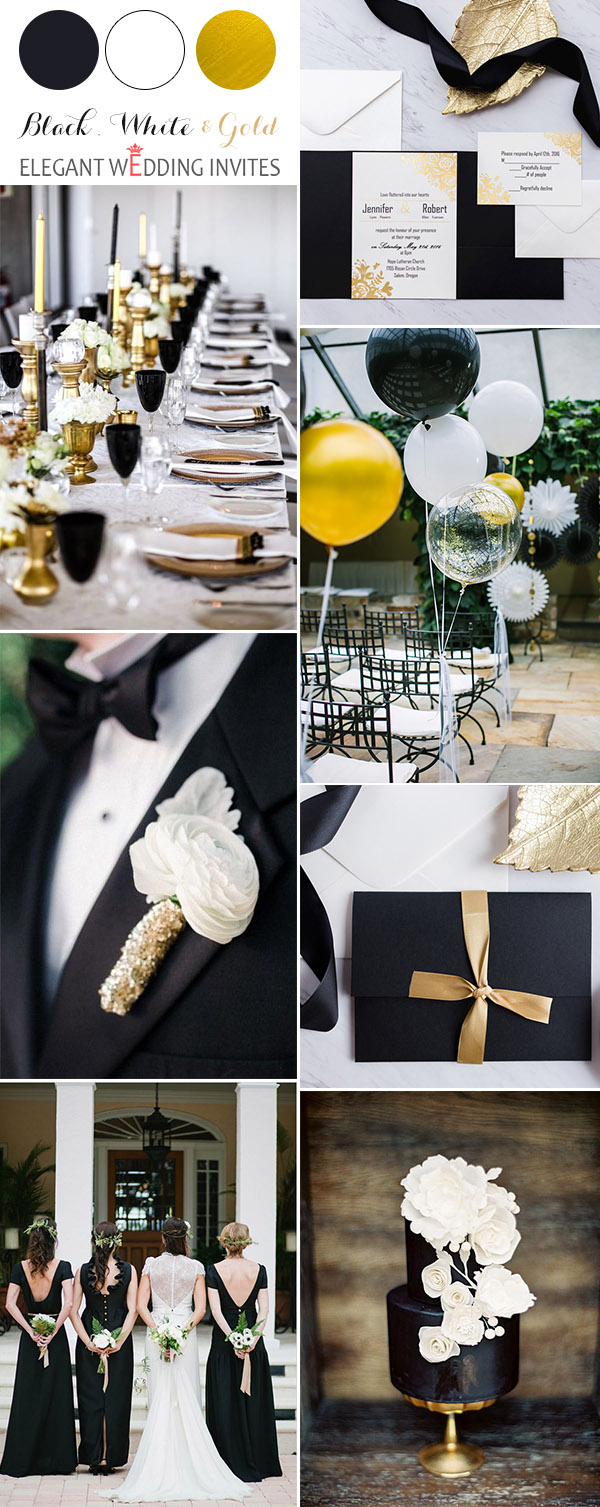 classoc black,white and gold country wedding color inspiration